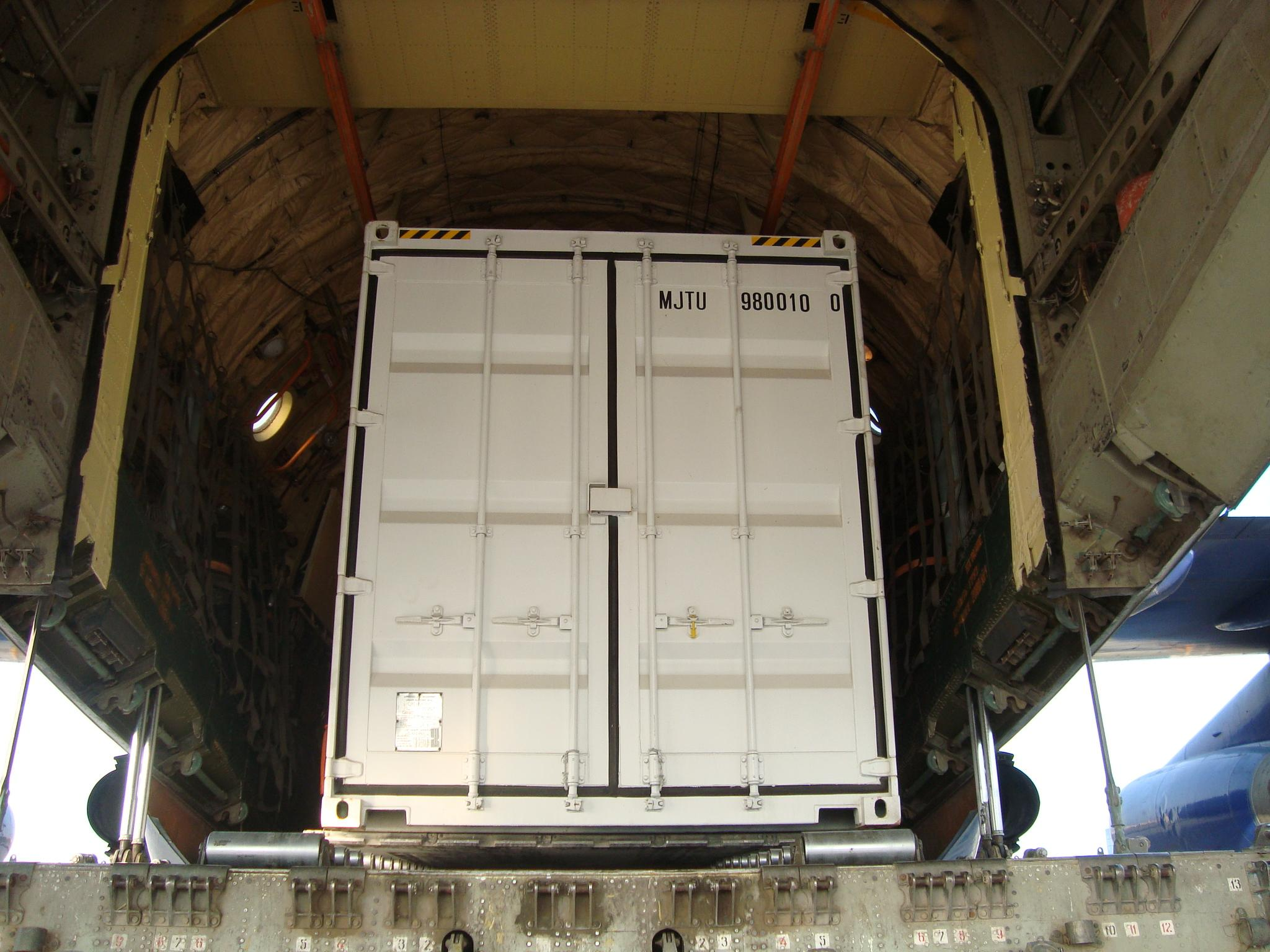 Container on aircraft